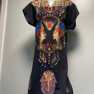 Vintage Caftan Egyptian Jeweled Sequin MuMu